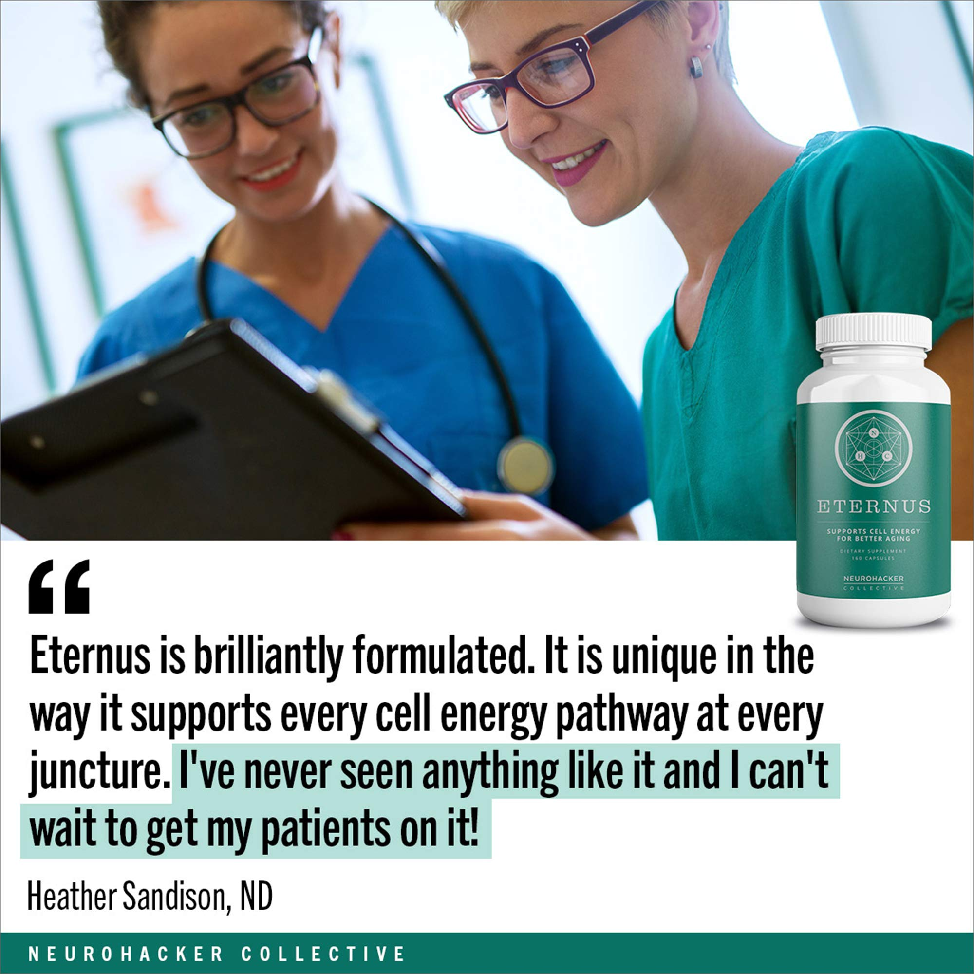 Eternus - Cell Energy for Better Aging | Comprehensive Cell Food Supplement | Niagen NAD+ Booster (160 Capsules) by Neurohacker Collective (Image #4)