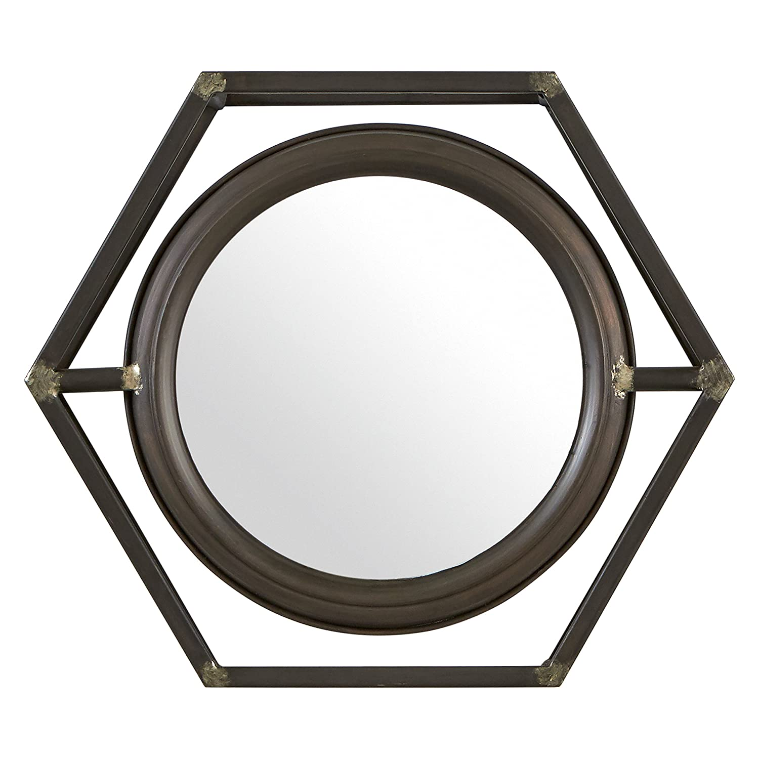 Stone & Beam Industrial Hexagonal Floating Metal Mirror, 12