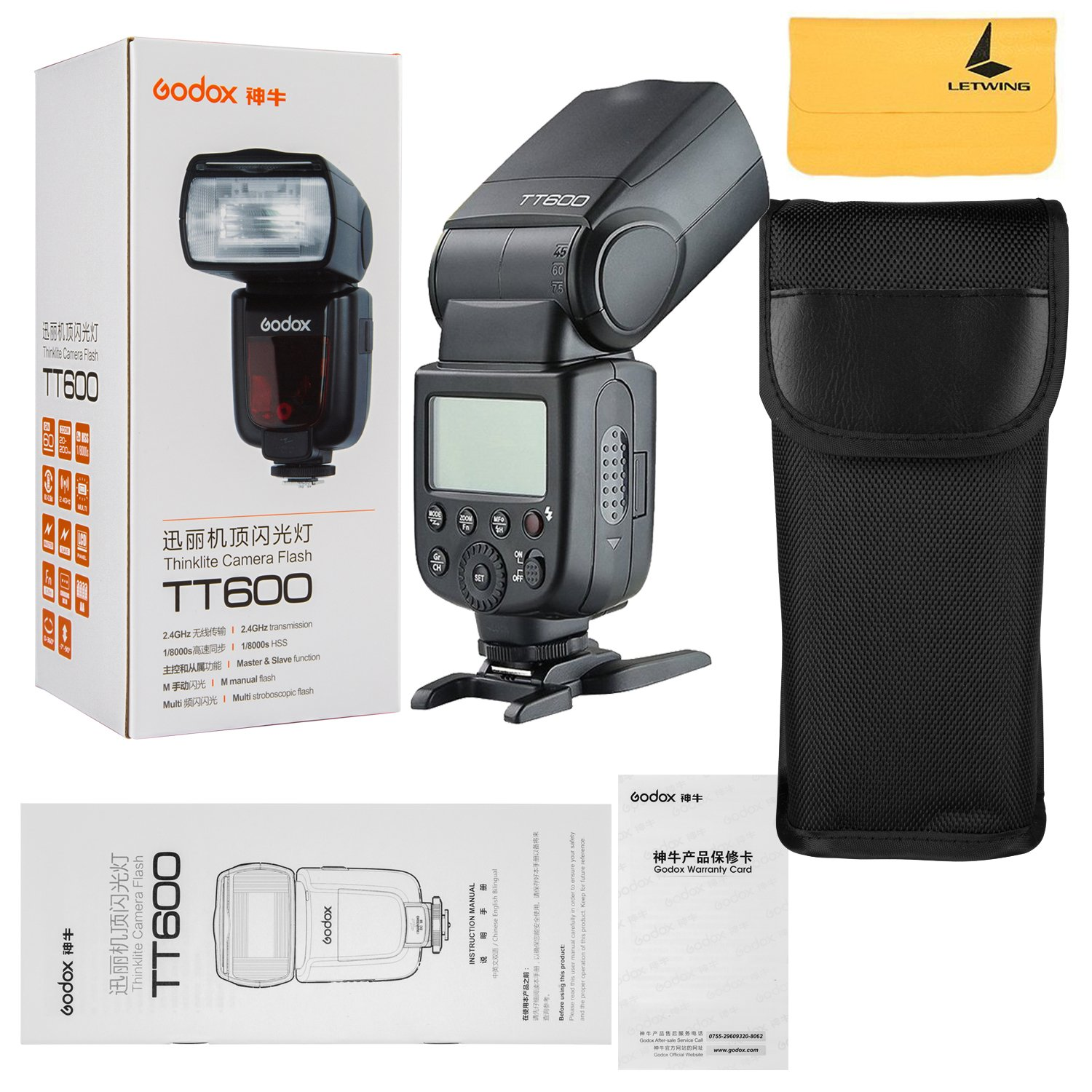 Godox TT600 2.4G Wireless Flash Speedlite Master / Slave Flash with Built-in Trigger System for Canon Nikon Pentax Olympus Fujifilm Panasonic (TT600)