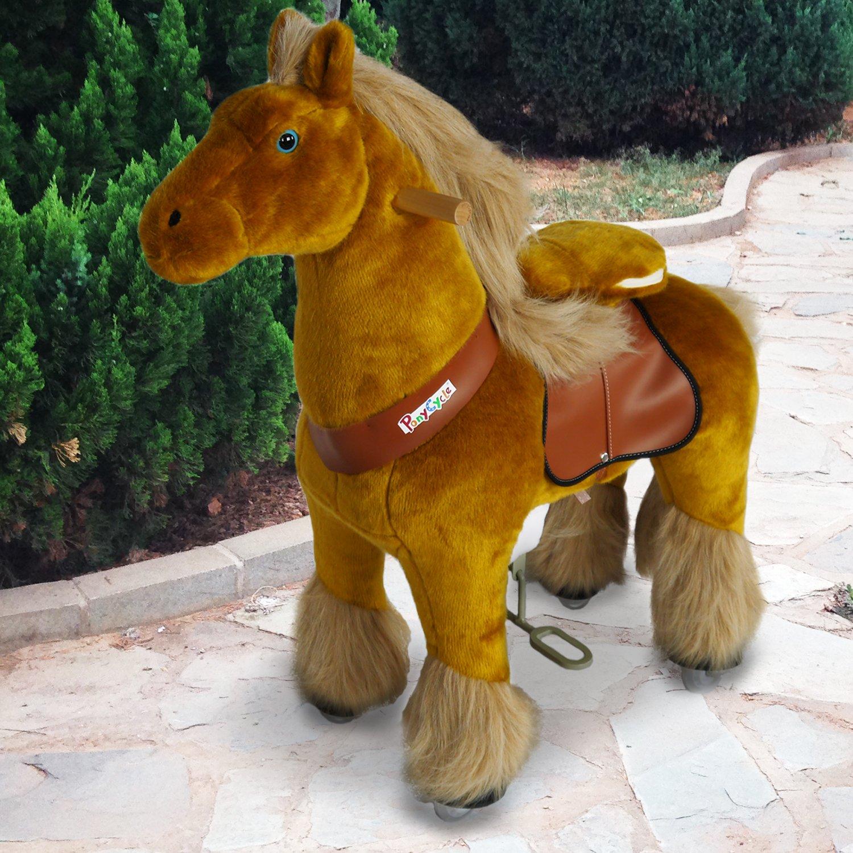 PonyCycle offiziell Reiten auf königlich Pferd gehendes Tier Plüschtier fahrbar Keine Batterie Keinen Strom mechanisch licht braun mittel für Alter 4-9 Kind/Baby