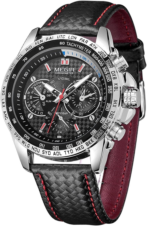 Megir - Reloj de Pulsera para Hombre, analógico, Deportivo, de Piel, Impermeable, de Cuarzo