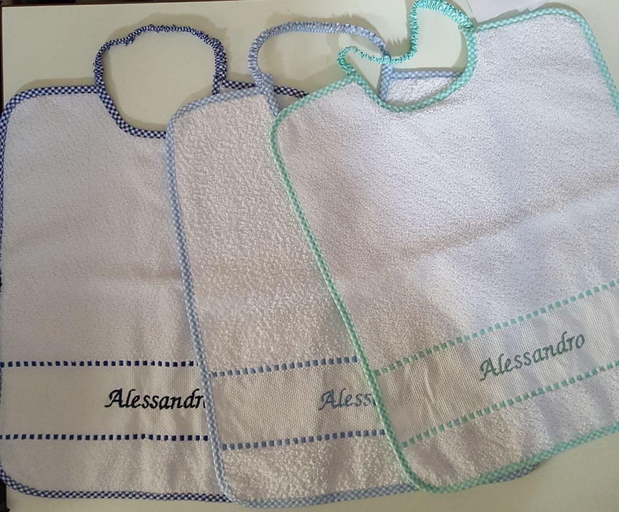 Set Kindergarten Kindergarten 6 Essschürze mit Einsatz in Aida + 3 Tücher 100% Frottee-Baumwolle Größe cm 28 x 36 M