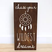Boho Nursery Girl, Tribal Baby Shower, Dream Catcher, Chase Your Dreams Sign, 7.5 x 15 inches