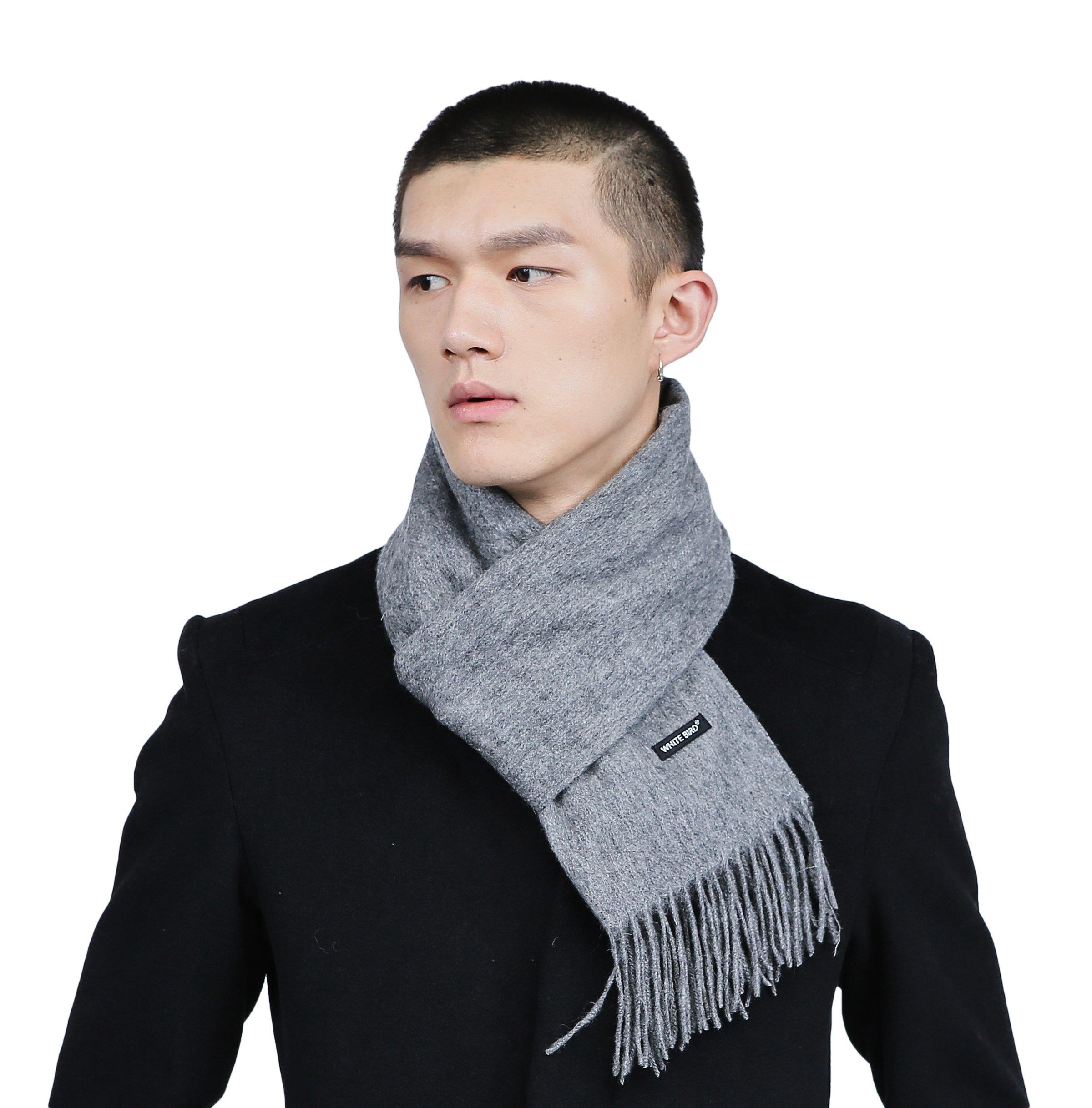 Men's Merino Wool Blend Solid Scarves Cashmere Feel Scarf with Fringe (Dark gray)