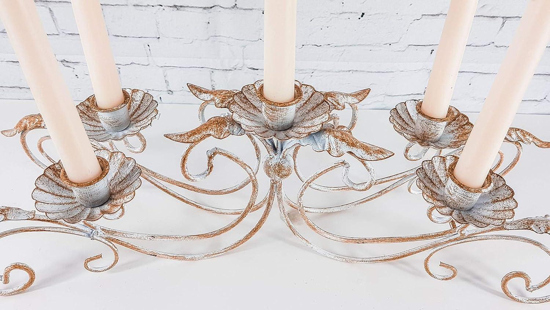 HomeZone Rustikale Antiker Stil 3 oder 5 Arm Vintage Eisen Konus Kerzenst/änder Weihnachten Tisch Tafelausatz Franz/ösischer Armleuchter Kerze Br/ücken Kunstvoll Getragen Elegant Wohndeko Kerzenleuchter