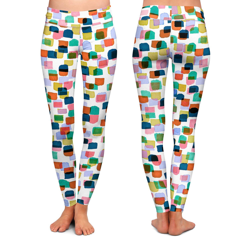 Retro Mod Dots I Athletic Yoga Leggings from DiaNoche Designs by Artist Julia Di Sano