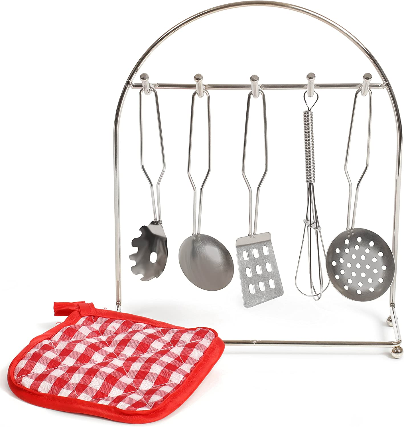 IQ Toys Pretend Play Cooking Utensils, 5 Piece Metal Cookware Set Includes Hanging Rack and Hot Pad Chef Set for Kids Kitchen