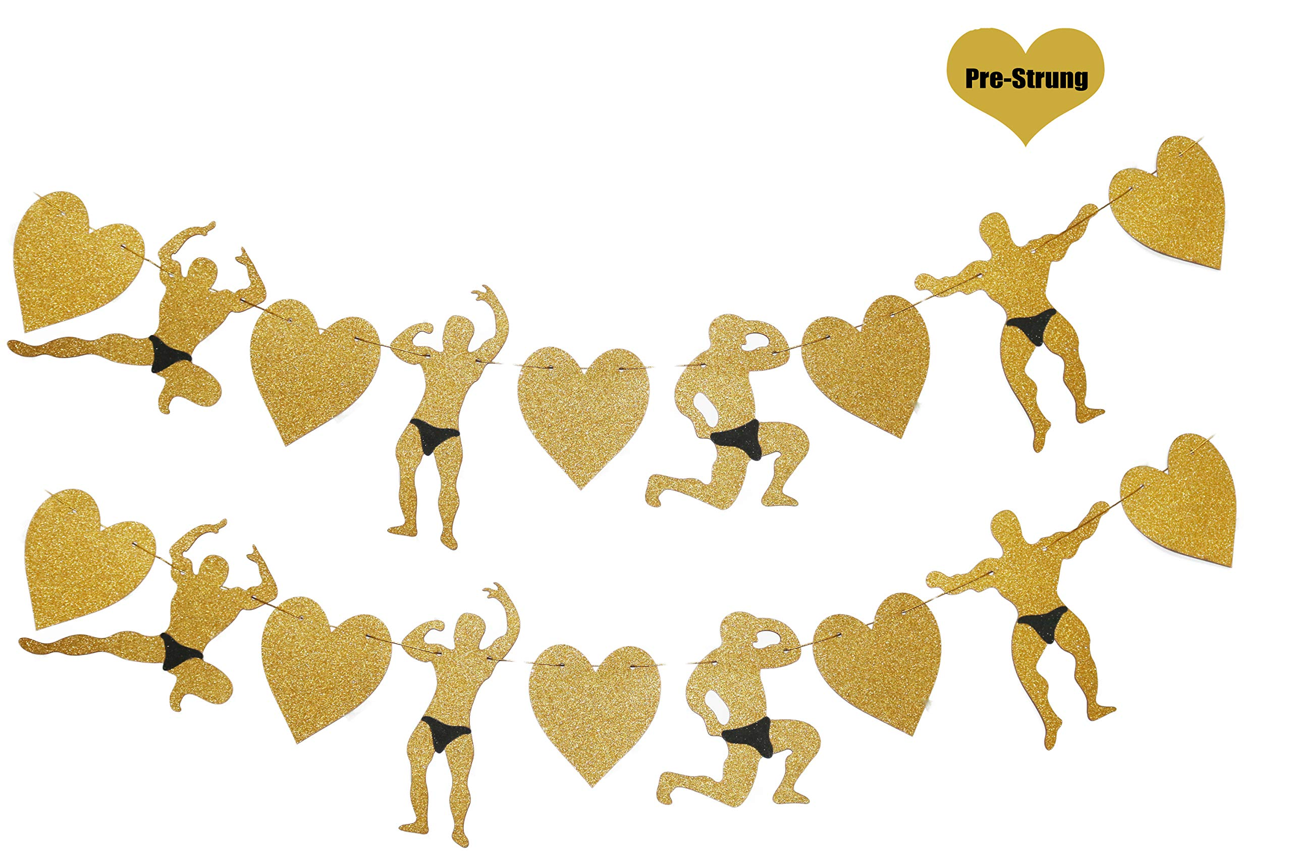 Gold Glittery Male Dancers Strippers Banner, Bachelorette Party Supplies, Naughty Dirty Supplies, Hen Party Supplies, Wedding, Engagement Party and Bridal Shower Banner