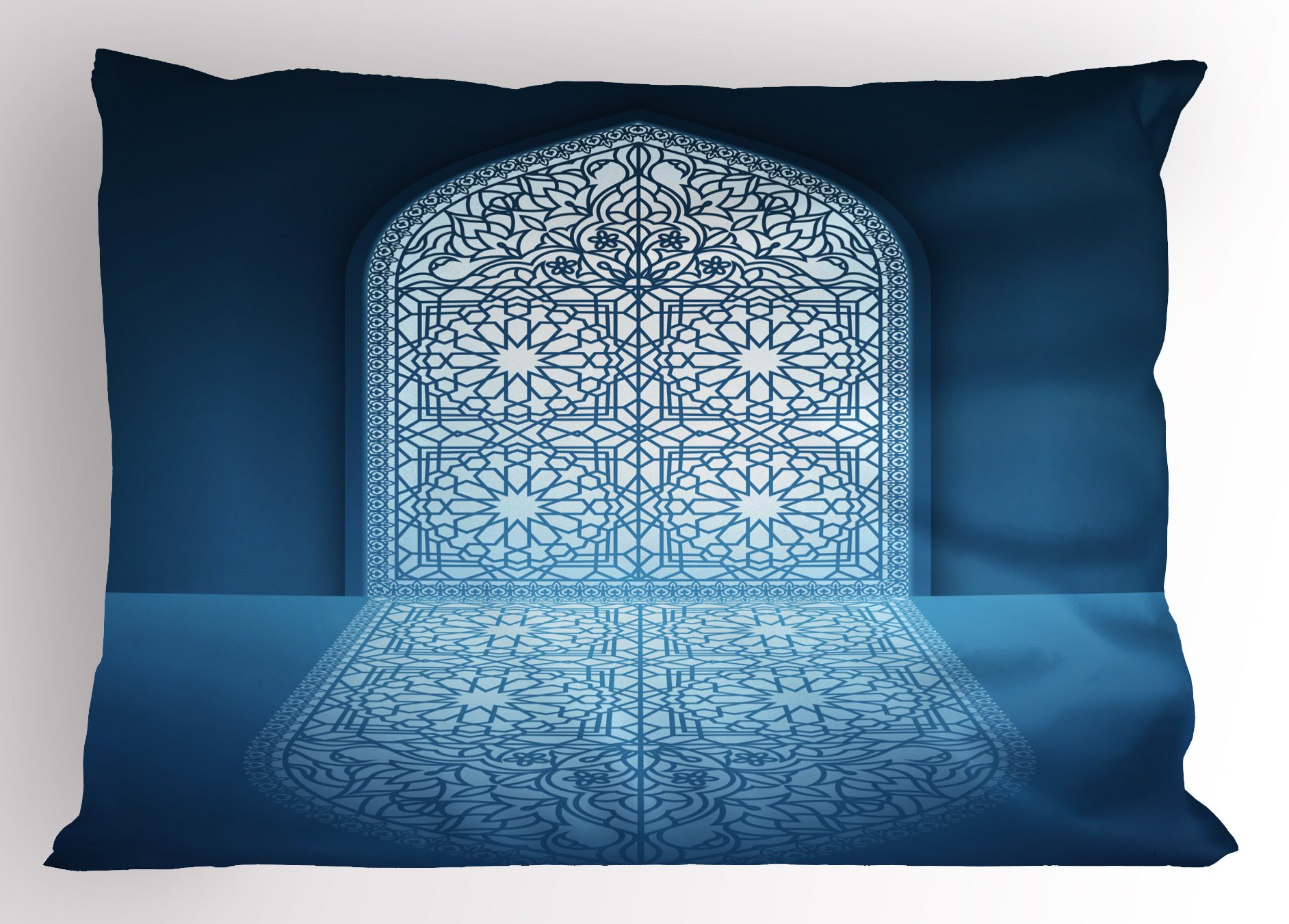 Lunarable Arabian Pillow Sham, Intricate Lace Window Frame Pattern and Reflection Moroccan Oriental Style, Decorative Standard Size Printed Pillowcase, 26 X 20 inches, White Turquoise