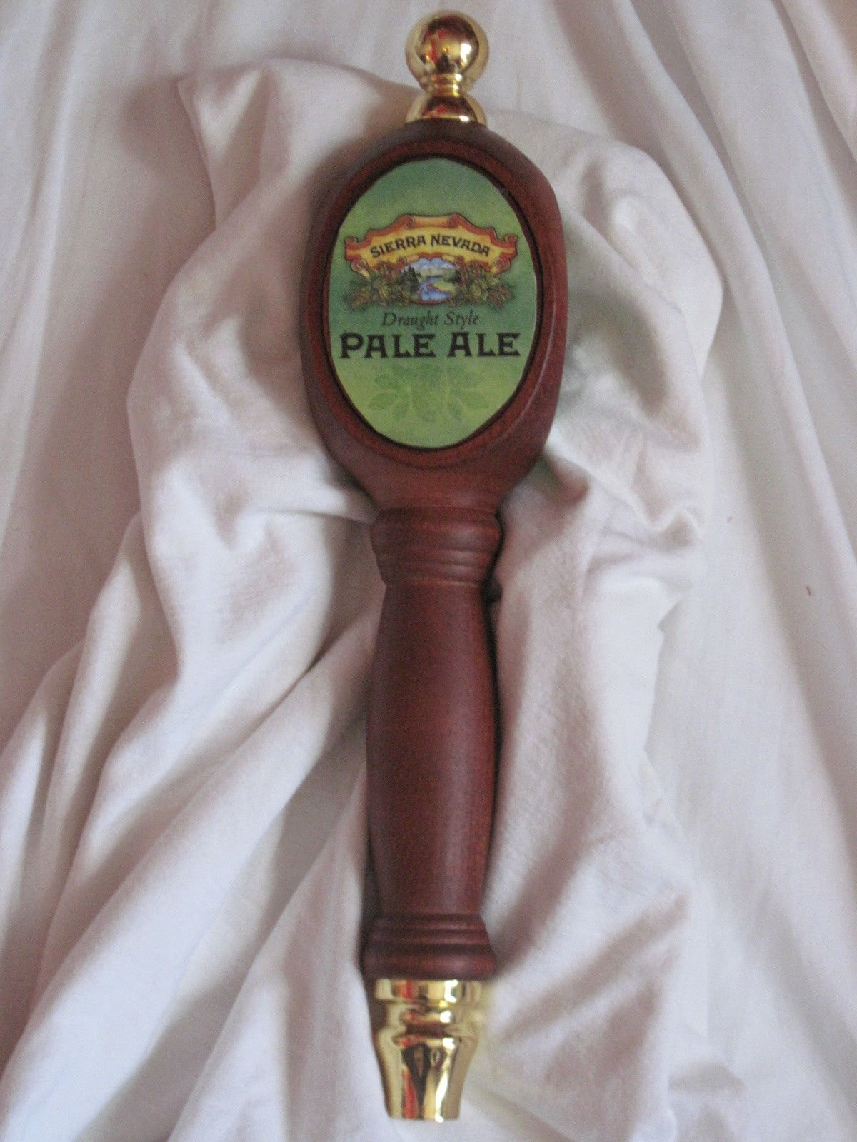 Sierra Nevada Pale Ale Beer Pub Style Tap Handle 13'' Long Beautiful Carved Wood and Nicely Decorated with Brass at the Top & Bottom & Three Sided