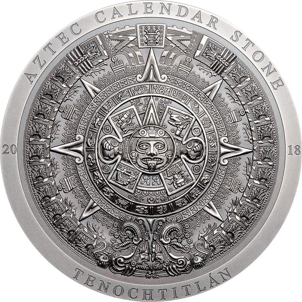 Power Coin Aztec Calendar Stone Kalender Archeology Symbolism 3 oz Silber Münze 20 Cook Islands 2018