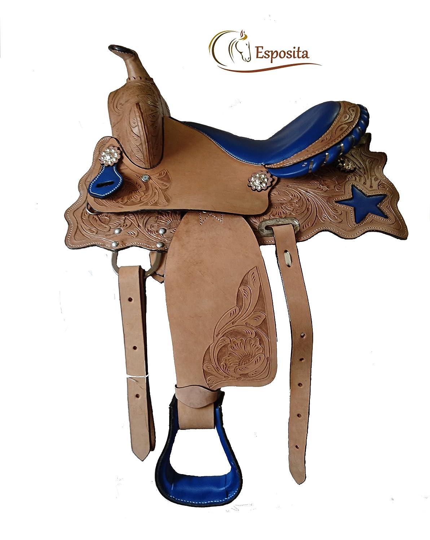 Esposita Westernsattel Prince für Pony und Shetty echtes Leder mit Sternen in Blau