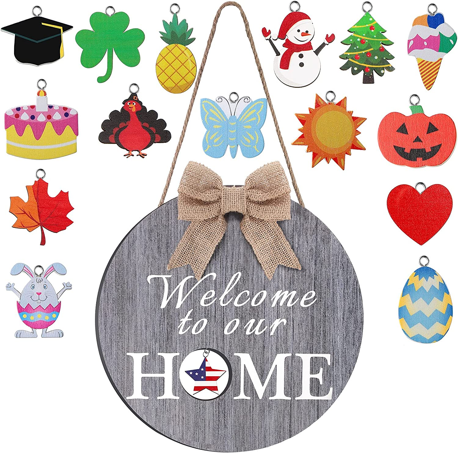 Seasonal Welcome Door Sign Interchangeable Welcome to Our Home Hanging Sign Round Wood Hanging Wreath Wood Front Door Wall Decoration with Burlap Bow, 16 Pieces Seasonal Ornament for Door (Gray)