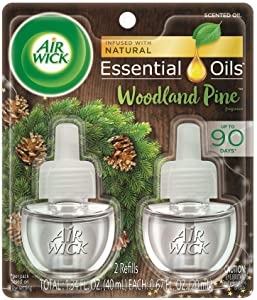 Air Wick plug in Scented Oil 2 Refills, Woodland Pine, Holiday scent, Holiday spray, (2x0.67oz), Essential Oils, Air Freshener, Packaging May Vary