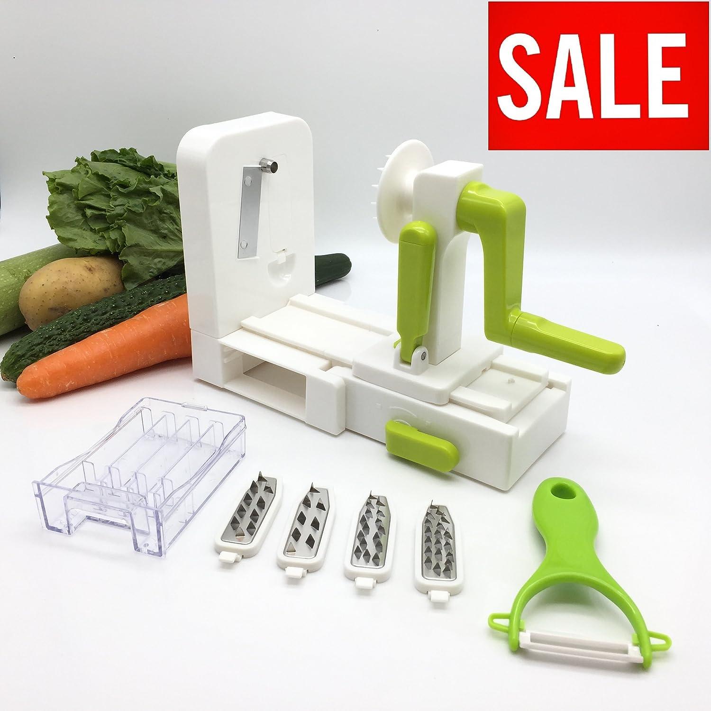 Home Cuisine Compact 5-Blade Spiralizer with a Bonus Peeler! 5 in 1 Tri-Blades Vegetable Spiralizer with Internal Blades Storage, 7 X 4 X 6 Space Saving Design EUTSE