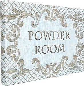 Stupell Industries The Stupell Home Decor Powder Room Aqua and Gold Lattice Bathroom Canvas Wall Art, 16 x 20, Design by Artist Jane Keltner