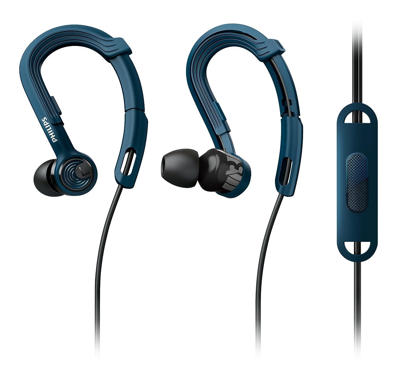 Philips SHQ3405BL/00 - Auriculares Deportivos de Clip (con micrófono, Cable Reforzado con Kevlar, Resistentes al Sudor y Agua), Azul y Negro: Amazon.es: ...