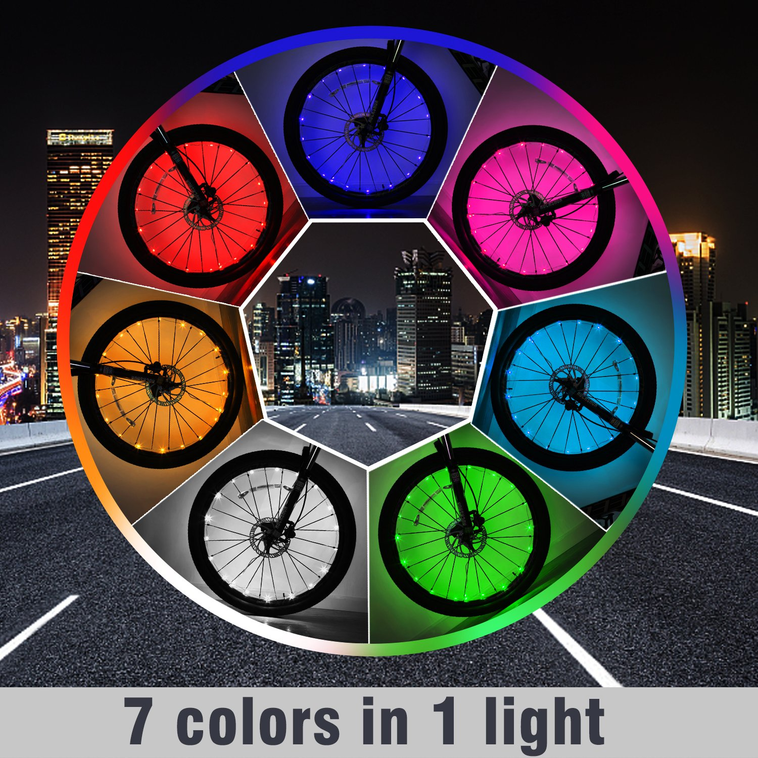 Exwell Bike Wheel Lights, 7 Colors in 1 Bike lights,Safety at Night,Switch 9 Modes LED Bike Accessories Lights, USB rechargeable 1 PACK by Exwell (Image #2)