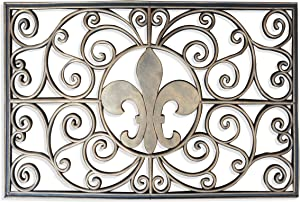 "A1 Home Collections Rubber Grill ""Fleur-De-Lis"" Doormat, 18"" L X 30"" W"