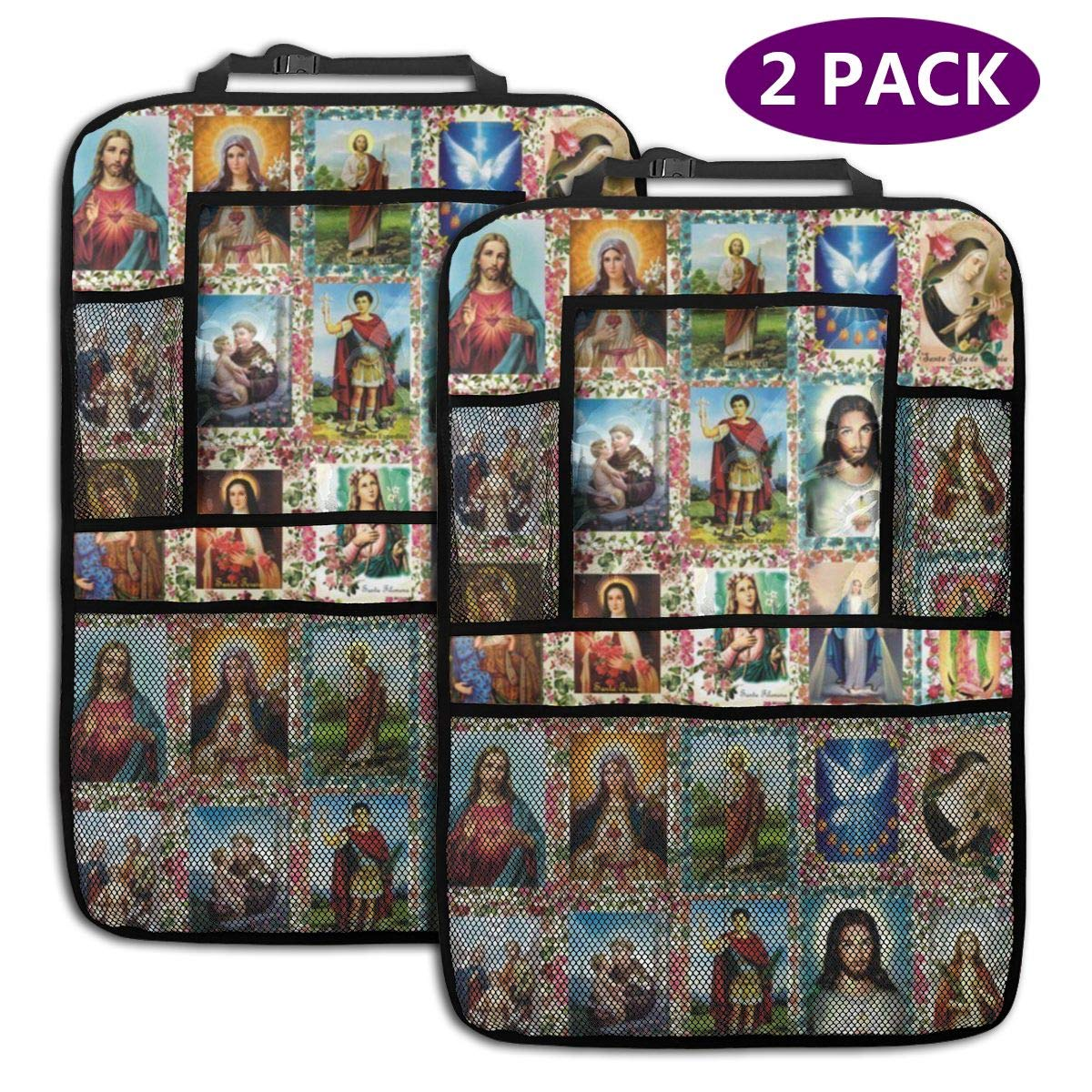 QF6FEICHAN Catholic Saints Images Collage Outh Car Seat Back Protectors with Storage Pockets Kick Mats Accessories for Kids and Toddlers by QF6FEICHAN