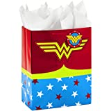 """Hallmark 13"""" Large Wonder Woman Gift Bag with Tissue Paper for Birthdays, Mother's Day, Nurses Day, Graduations, Valentines D"""