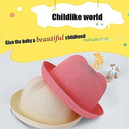 Toddler Unisex Cute Summer Cartoon Breathable Cat Ear Bowl Hat Cubs Straw SunHat