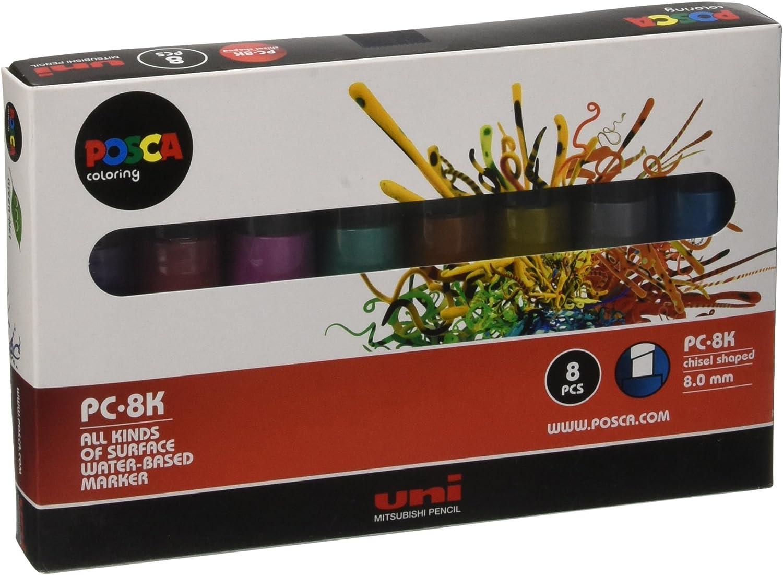UNI Posca Set PC-8K Metalizados - Pack de 8 rotuladores: Amazon.es ...