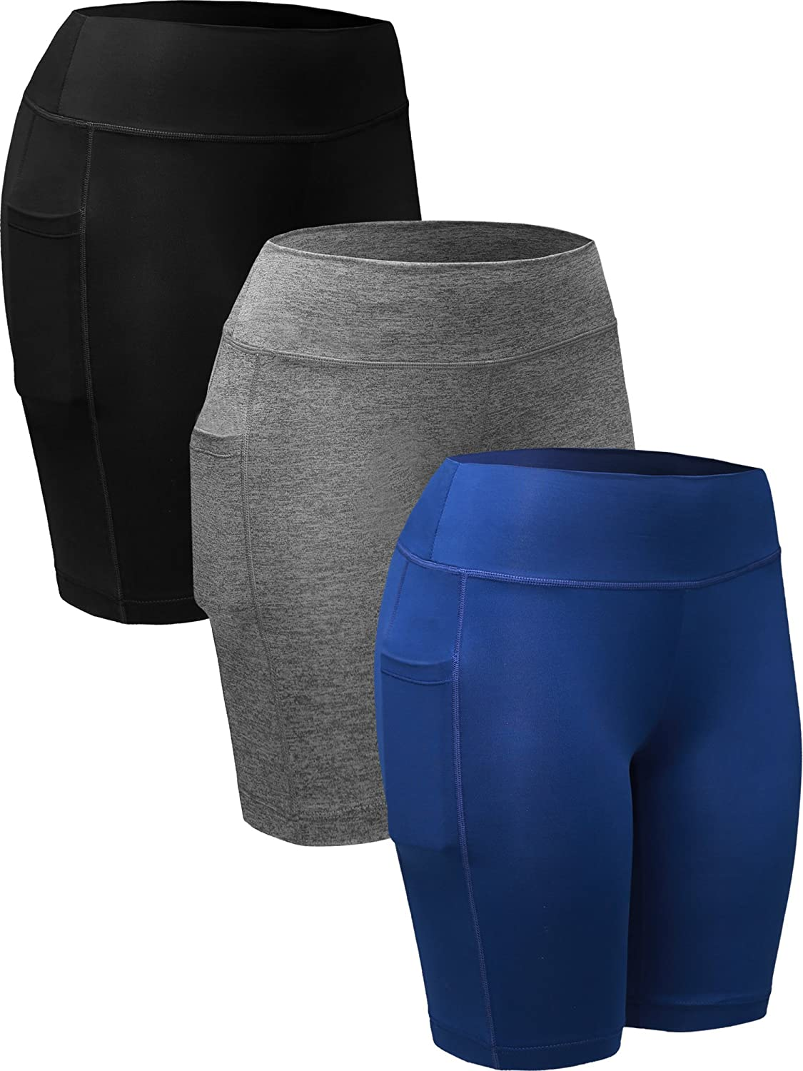 Neleus Women's 3 Pack Dry Fit Compression Running Shorts with a Pocket NN9005