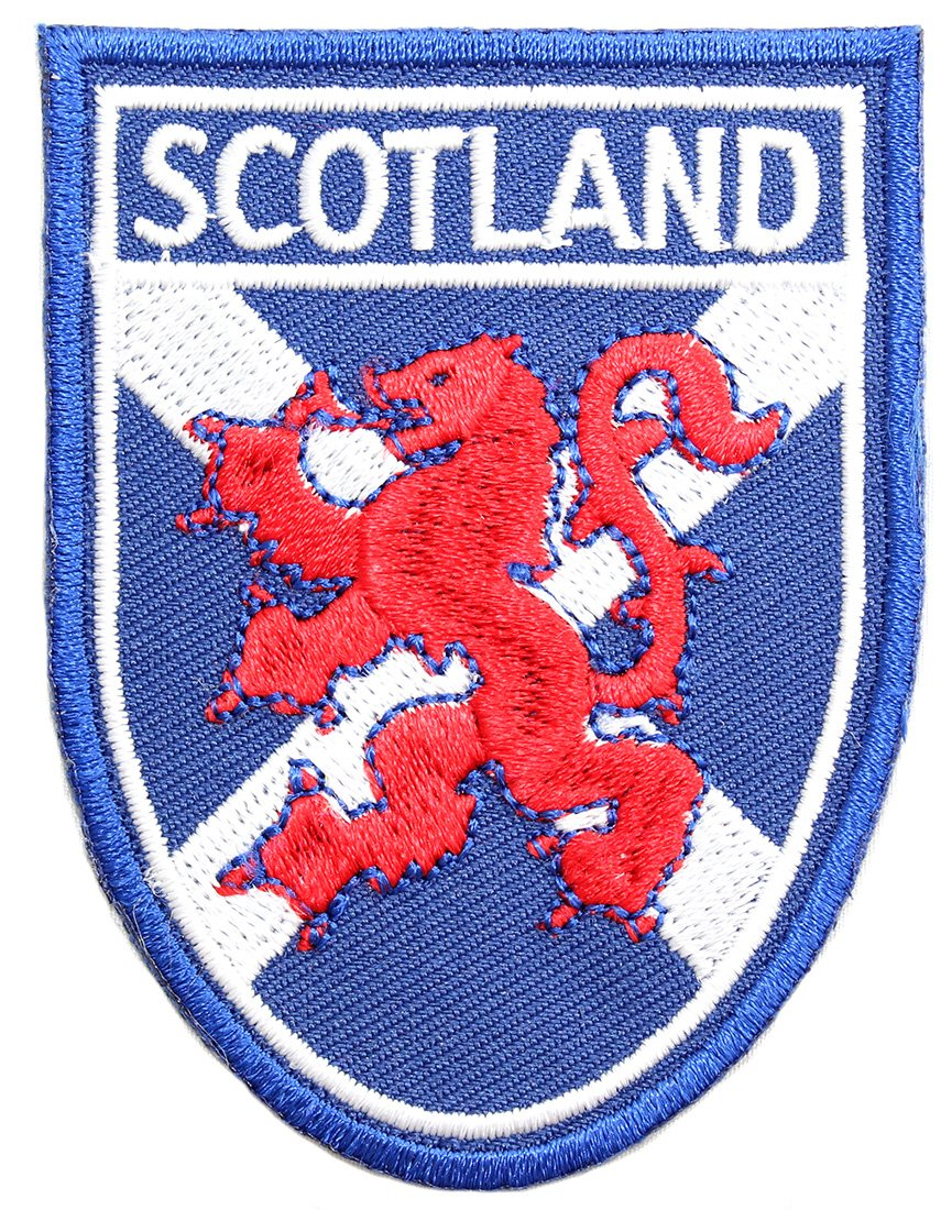 EuroStick Scottish St. Andrews Saltire Flag with Lion Rampant And Scotland Shield Sew on/Iron on Fabric Patch