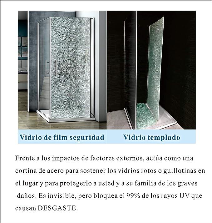 Mamparas ducha Panel Pantalla Fija Vidrio laminado de film seguirdad a pureba de explosiciones 8mm - Barra 70-120cm - 100x200cm: Amazon.es: Bricolaje y herramientas