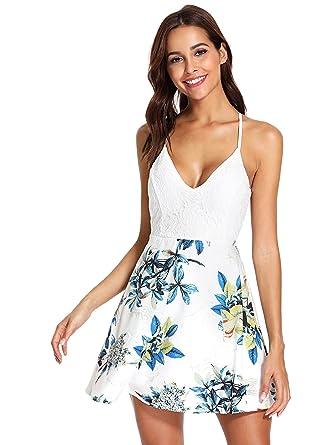 45342a26190 Milumia Womens Criss Cross Back Lace Floral Print Short Mini Cami Dress