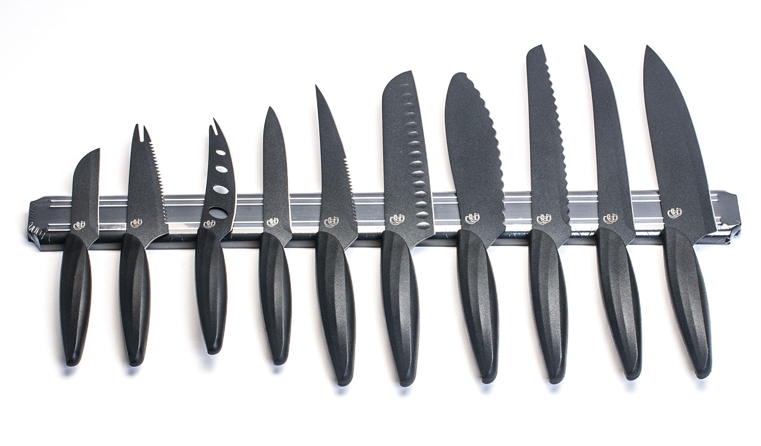 GELA EK-0848 10 Piece Knife Set With Magnetic Bar, 3'', Black by Gela