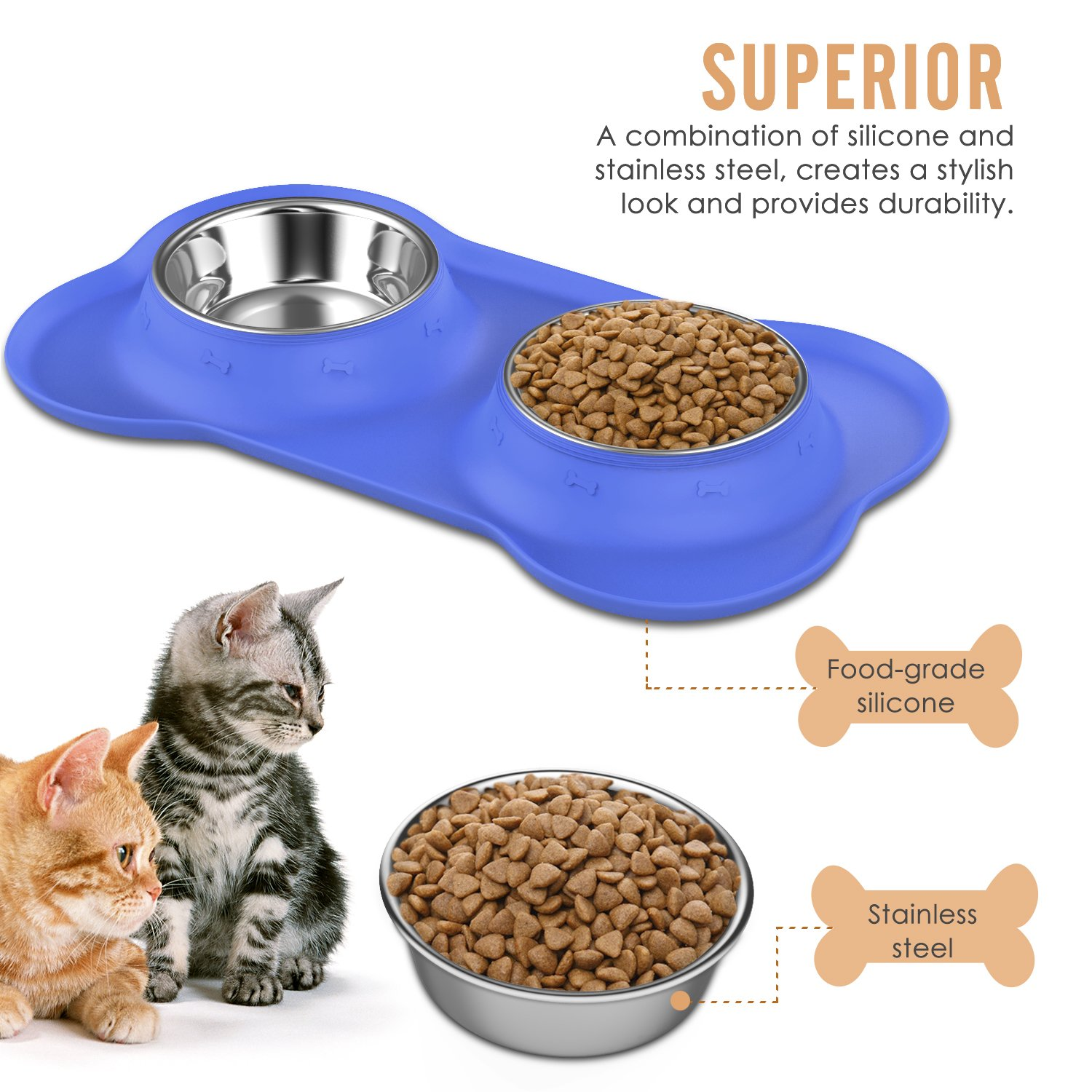 Pawaboo Pet Dog Cat Bowls, Premium Stainless Steel Pet Feeder with Food Grade Bone Shaped Rubber Base, 4.33 Inch Diameter Bowls for Pet Dog Cat Food or Water, Set of 2, Small Size, BLUE by PAWABOO (Image #2)
