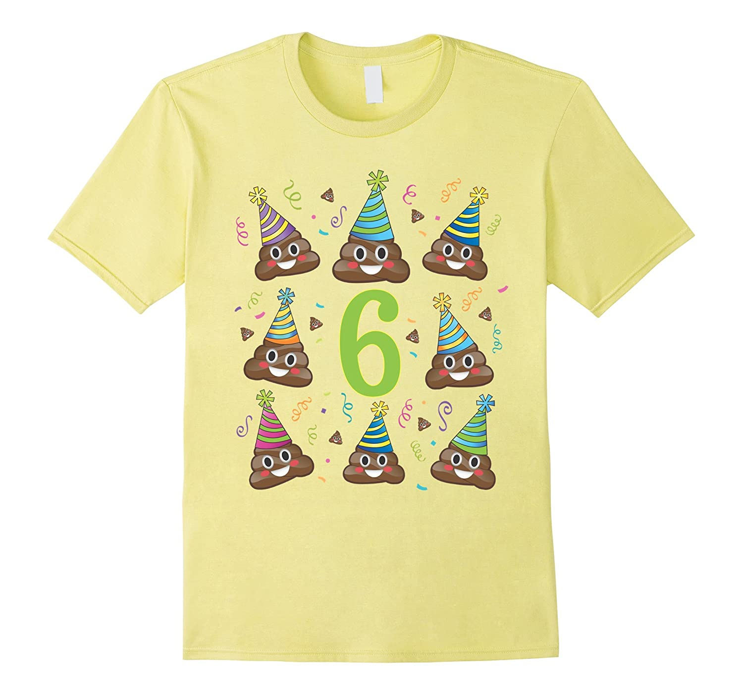 Poop Birthday Shirt Emoji 6 Six Year Old Girl Boy Poo 6th TH