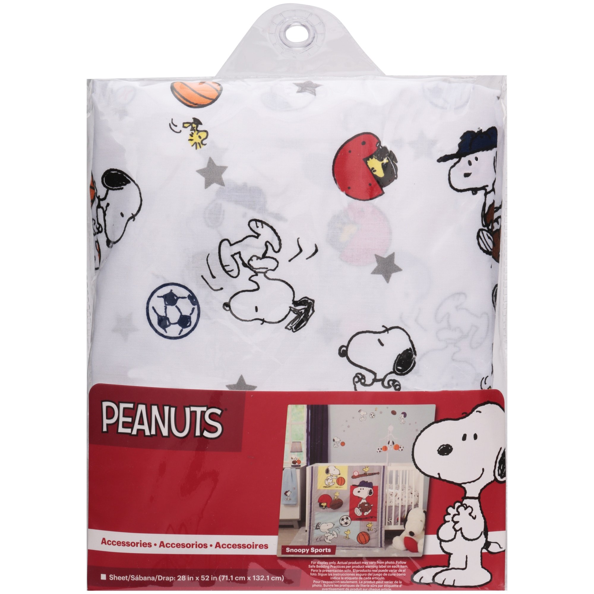 HT Beautiful White Red Blue Snoopy Sports Fitted Crib Sheet, Cartoon Themed Nursery Bedding, Infant Child Toddler Animal Animated Peanuts Ball Soccer Cute Adorable, Cotton Polyester