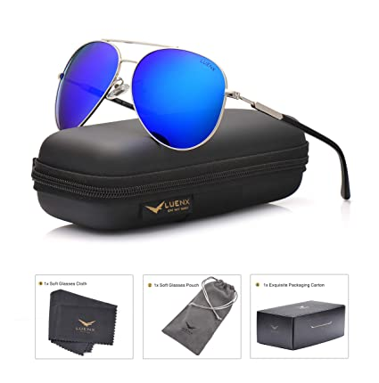 08e3b074ed LUENX Mens Womens Aviator Sunglasses Polarized   with Case - UV 400  Protection Dark Blue Lens