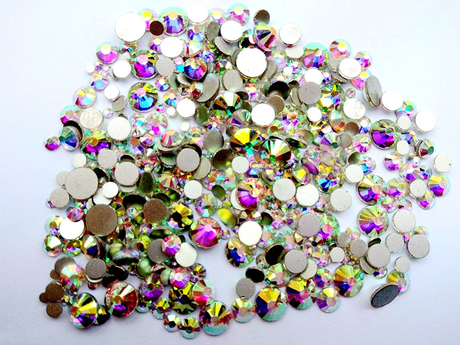 Crystal AB / Crystal FlatBack Glass Rhinestones Glue Fix (ss6 (2mm) 1440 pcs, Crystal AB) [By Zealer] Come with NO CASE