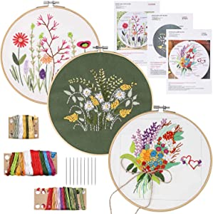 3 Pack Stamped Embroidery Starter Kit with Pattern Including 3Pcs Embroidery Cloth,1Pcs Bamboo Embroidery Hoop,Color Threads Tools Kit (Plant and Flowers)