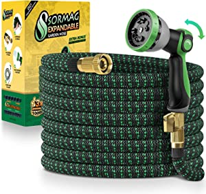 SORMAG Expandable Garden Hose 100ft, Flexible Expanding Water Hose, Leakproof No Kink Lightweight Hoses with 10 Function Nozzle, Durable Collapsible Outdoor Watering Hose for Yard Lawn