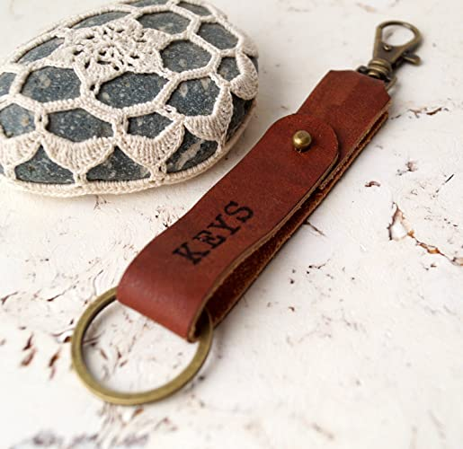 Custom Personalized Genuine Leather Keychain Engraved Key Chain Fob 3rd Wedding