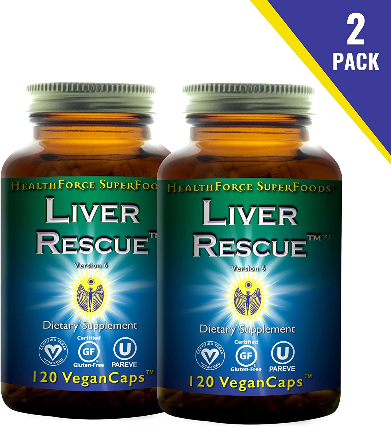 HealthForce SuperFoods Liver Rescue (2 Pack) - 120 Vegan Capsules - All Natural Liver Detoxifier with Milk Thistle & Dandelion Root - Gluten Free - 120 Total Servings