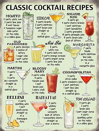 Amazon.com: Grande clásico Cartel de cóctel pub Cocina ...
