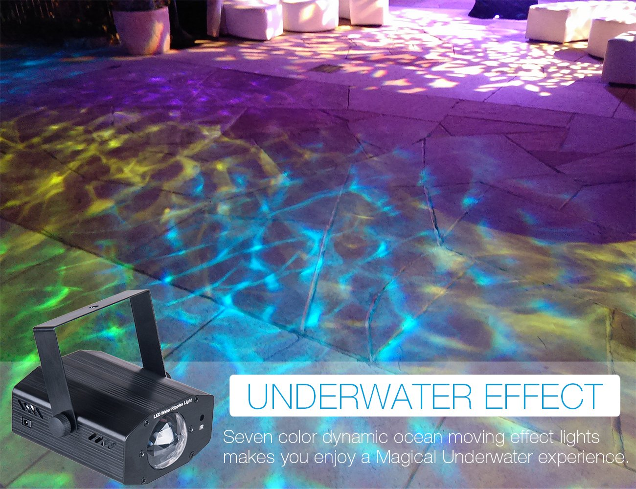 DuaFire 7 Colors LED Laser Light Projector Energy-Saving Water Ripples Lights for Party Wedding KTV Voice-activated Stage Strobe Light with Remote Control Bar Home Club Disco