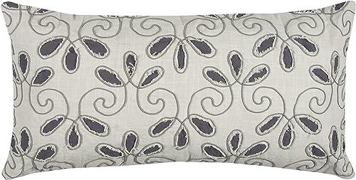 Rizzy Home T12346 Decorative Pillow, 14 X26 , Gray White Neutral