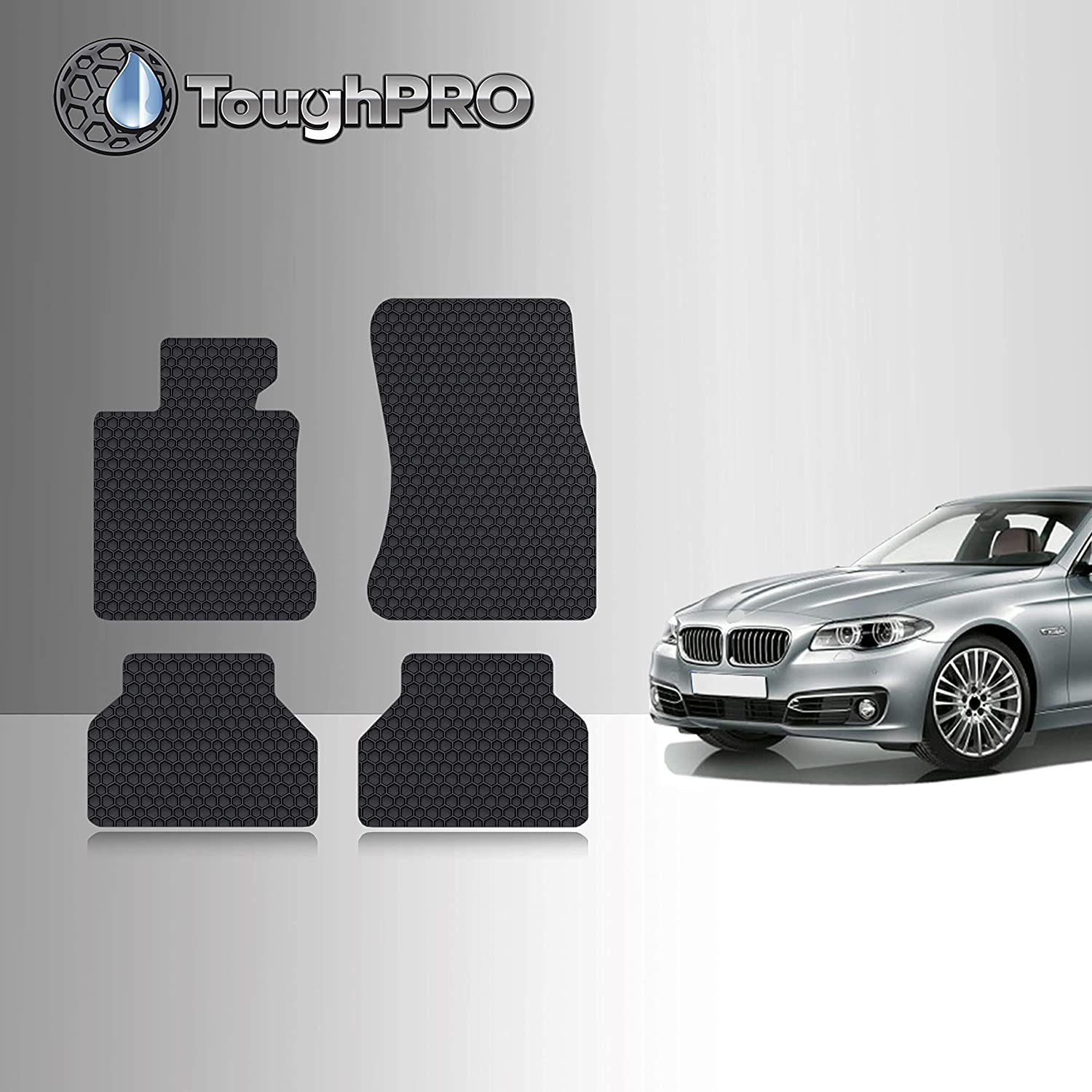 Heavy Duty - - Black Rubber Front Row + 2nd Row Made in USA 2008 TOUGHPRO Floor Mat Accessories Set Compatible with BMW X3 2006 2010 2009 2007 2004 2005 All Weather