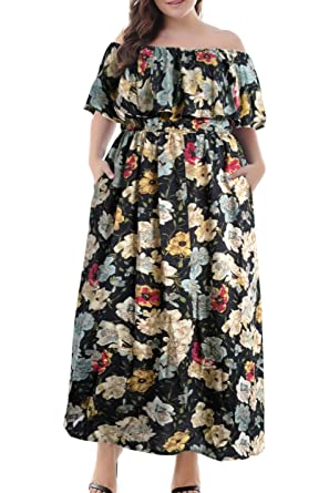 Nemidor Women\'s Vintage Floral Print Off Shoulder Summer Casual Plus Size  Maxi Dress with Pocket