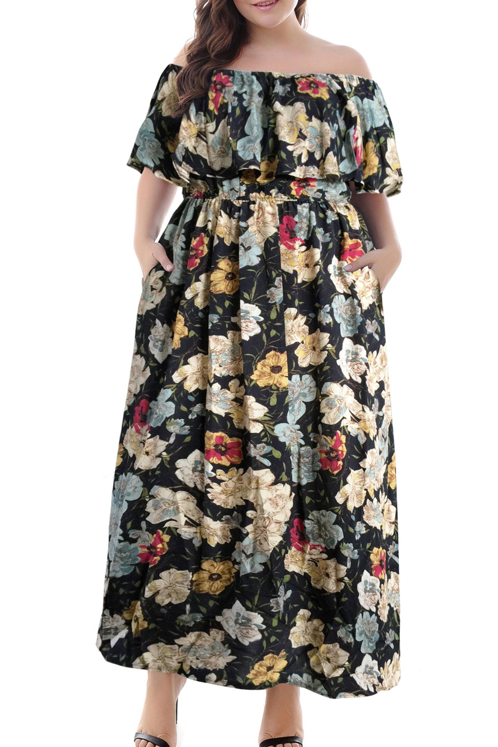 Nemidor Women's Floral Print Off Shoulder Summer Casual Plus Size Maxi Dress with Pocket (Yellow+Print, 22W)