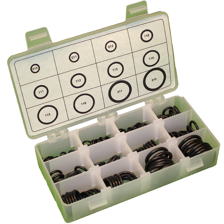 70A Durometer 12-Sizes Pack of 200 Pieces Buna-N Quad-Ring Kit Black Buna