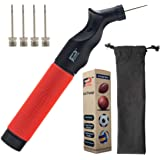 Pifito Ball Pump - Double Action Air Pump for Soccer Ball, Football & Basketball - Elegant Storage Pouch included - with 4 Additional Needles