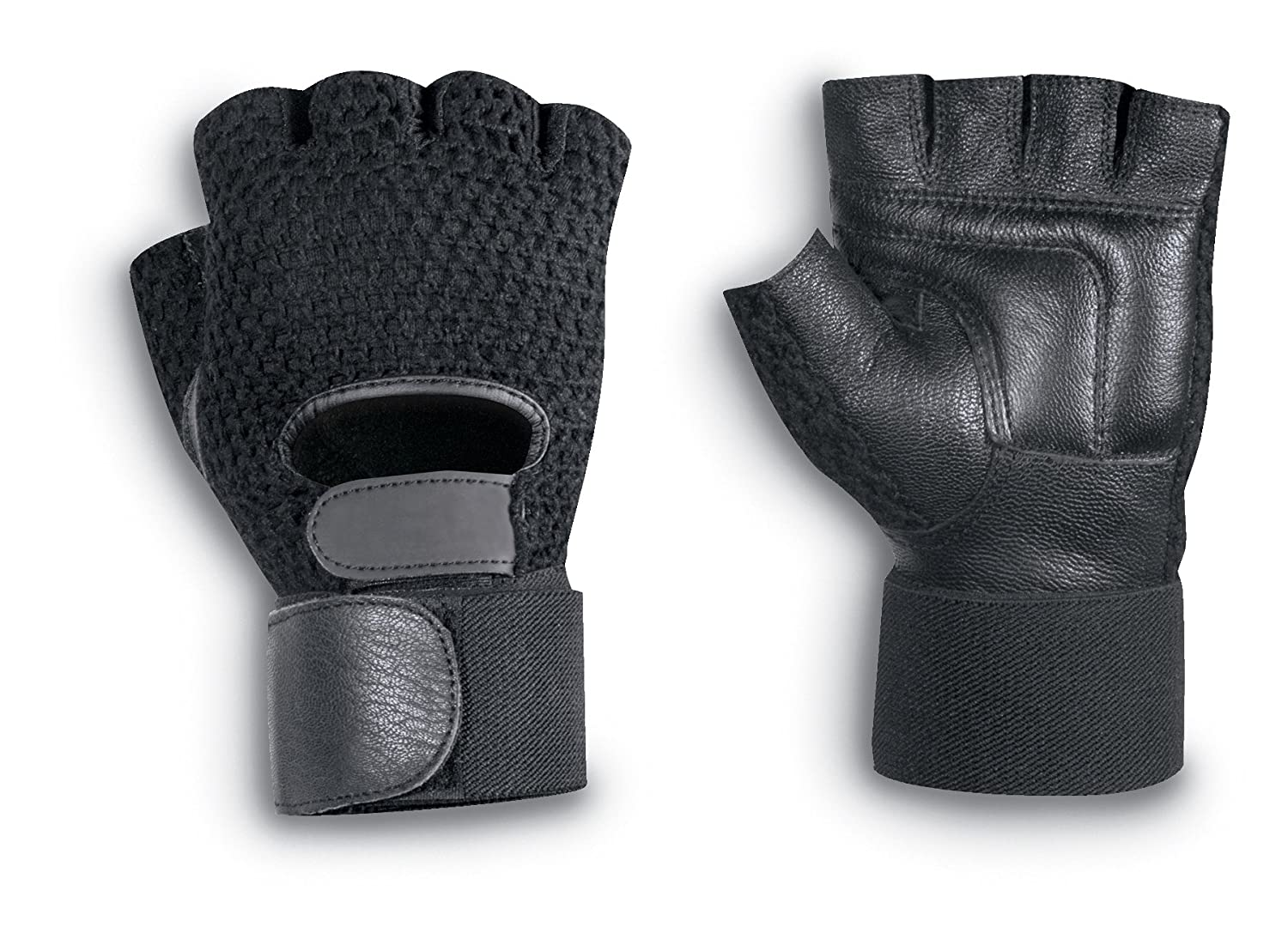 BrownCor Mens Half Finger Mesh Back Glove with Wrist Supports